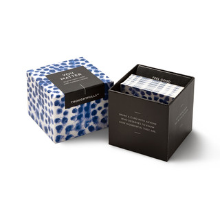 """View of open box and pop-open cards, """"You Matter"""", blue and white elegant design, 30 pop-open cards, each with a unique message inside, backside has space to write a note"""