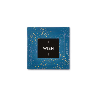 """Front view of a pop-open card, """"Wish"""", blue, gold, starry elegant design, 30 pop-open cards, each with a unique message inside, backside has space to write a note"""