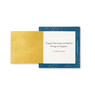 """Inside view of a pop-open card, """"Wish"""", blue, gold, starry elegant design, 30 pop-open cards, each with a unique message inside, backside has space to write a note"""