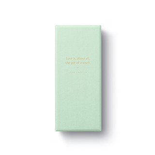 front view without belly band, light green keepsake box, 20 themed notes, gold foil quote, Love is, above all, the gift of oneself, jean anouilh