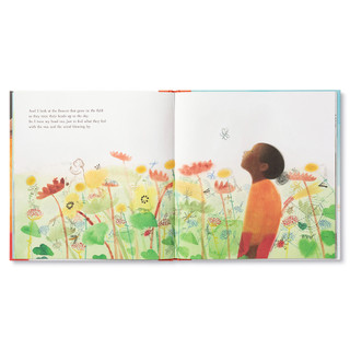 """Inside pages, a story about an inquisitive little girl on a camping trip, she takes a journey through nature and discovers the amazing worlds within her. Hardcover children's illustrated book features watercolor and pencil illustrations. Inside page features the little girl looking in wonder, and surrounded by wildflowers, page copy """"And I look at the flowers that grow in the field as they turn their heads up to the sky. So I turn my head too, just to feel what they feel with the sun and the wind blowing by."""""""