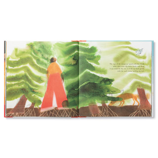 """Inside pages, a story about an inquisitive little girl on a camping trip, she takes a journey through nature and discovers the amazing worlds within her. Hardcover children's illustrated book features watercolor and pencil illustrations. Inside page features the little girl holding herself strong with the large forest of trees, page copy """"The tops of the evergreens speak with the clouds while their roots dig down steady and deep. I can reach the sky too, so I lift my head proud, with the earth below holding my feet."""""""
