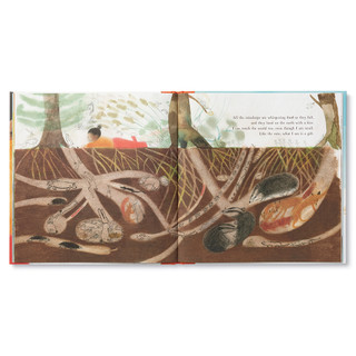 """Inside pages, a story about an inquisitive little girl on a camping trip, she takes a journey through nature and discovers the amazing worlds within her. Hardcover children's illustrated book features watercolor and pencil illustrations. Inside page features the little girl laying under a tree with animals nearby in their nests, page copy """"All the raindrops are whispering hush as they fall, and they land on the earth with a kiss. I can touch the world too, even though I am small. Like the rain, what I am is a gift."""""""