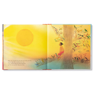 """Inside pages, a story about an inquisitive little girl on a camping trip, she takes a journey through nature and discovers the amazing worlds within her. Hardcover children's illustrated book features watercolor and pencil illustrations. Inside page features the little girl sitting in a tree surrounded by forest animals looking into the sunset, page copy """"When the sun paints the sky pink and orange and blue, with its light that is brilliant and clear. I say, I want to make the world beautiful too, and the sun says, that's why you are here."""""""
