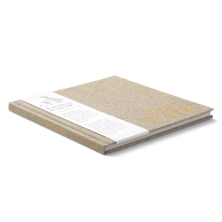 """Side view, """"Year by Year"""", book to write a letter a year to your child, includes prompts and questions to help you write a letter to your child every year, features an elegant gray cloth hardcover and gold foil stamping"""