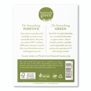 Card back, includes eco-friendly, green tip