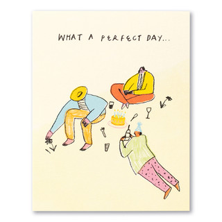 """A pale yellow birthday card featuring bright colors and several abstract figures of people at a birthday party with the statement """"What a perfect day."""""""