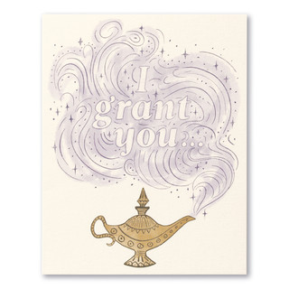 """Card front, cream colored birthday card with an illustration of a genie lamp featuring the statement """"I grant you..."""""""