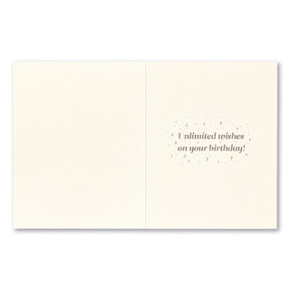 """Card inside, """"Unlimited wishes  on your birthday!"""""""