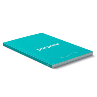 """Side view, turquoise blue softcover, activity journal, """"True Purpose"""", a collection of exercises, prompts, vignettes, and quotes"""