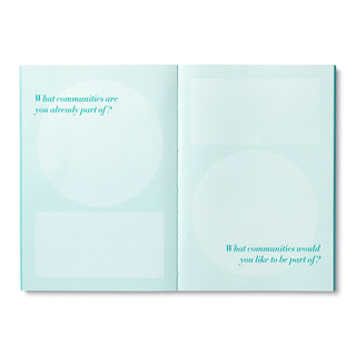"""Inside pages, turquoise blue softcover, activity journal, """"True Purpose"""", a collection of exercises, prompts, vignettes, and quotes"""