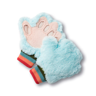 Blue tickle mitts.