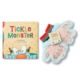Tickle Monster book and blue tickle mitts.