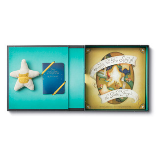 Opened The Tooth Fairy Kit showing Lunette, The True Story of the Toothfairy book, start pillow, and keepsake journal.