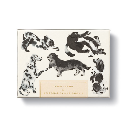 A playful note card set with adorable illustrations of dogs and sweet sentiments.