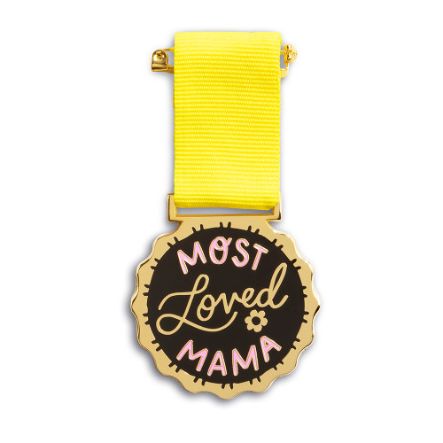 "An award medal with a yellow ribbon and an illustration that reads ""Most Loved Mama."""
