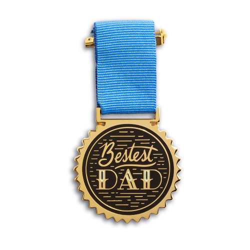 """An award medal with a blue ribbon and an illustration that reads """"Bestest Dad."""""""