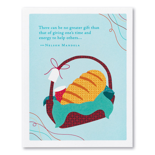 """A blue thank you card featuring an illustration basket filled with bread and jam and the quote """"There can be no greater gift than that of giving one's time and energy to help others…"""" —Nelson Mandela."""