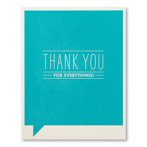 """A blue thank you card with the statement """"THANK YOU for everything!"""""""