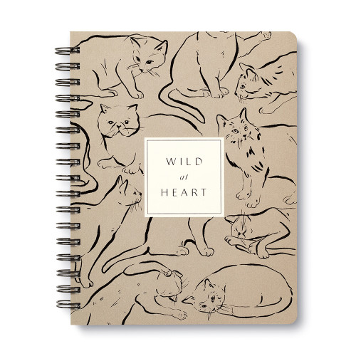 """Front cover, cat themed, black and cream colored wire-o notebook, the cover features illustrations of fun-loving felines with the statement """"Wild at heart"""", the sophisticated illustrations include a variety of cat breeds, includes 3 breakout spreads, each with a unique design"""