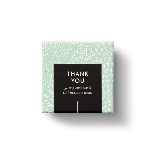 """Top view of box, """"Thank You"""",  light green and white, elegant design, 30 pop-open cards, each with a unique message inside, back of cards has space to write a note"""