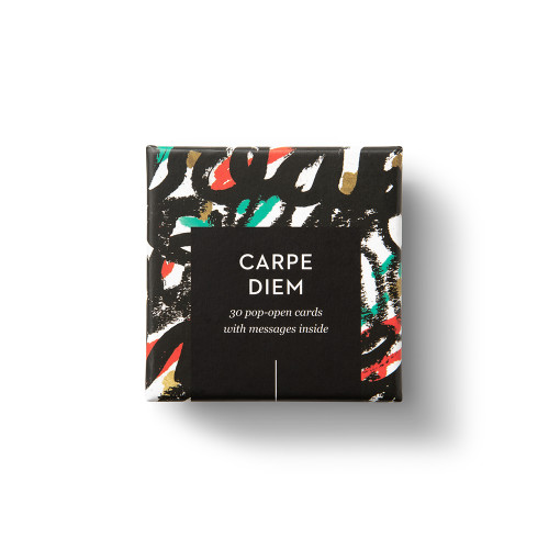 """Top view of box, """"Carpe Diem"""", brigh colors with black, creative design, 30 pop-open cards, each with a unique message inside, backside has space to write a note"""