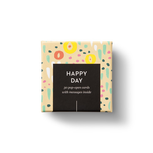"""""""Happy Day"""", coloful, cheery design, 30 pop-open cards, each with a unique message inside, backside has space to write a note"""