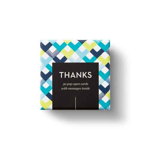 """Top view of box, """"Thanks"""", blue, yellow, chevron design, 30 pop-open cards, each with a unique message inside, backside has space to write a note"""