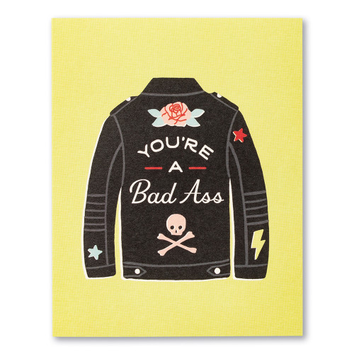 """Card front, lime green friendship card featuring the illustration of a black leather jacket and the statement """"You're a bad ass."""""""