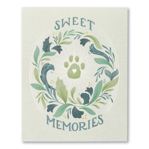 """Card front, gray pet sympathy card featuring floral designs and a paw print illustration. The statement on the front of the card reads """"Sweet memories."""""""