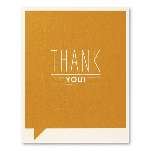 """Card front, orange thank you card with the statement """"Thank you!"""""""
