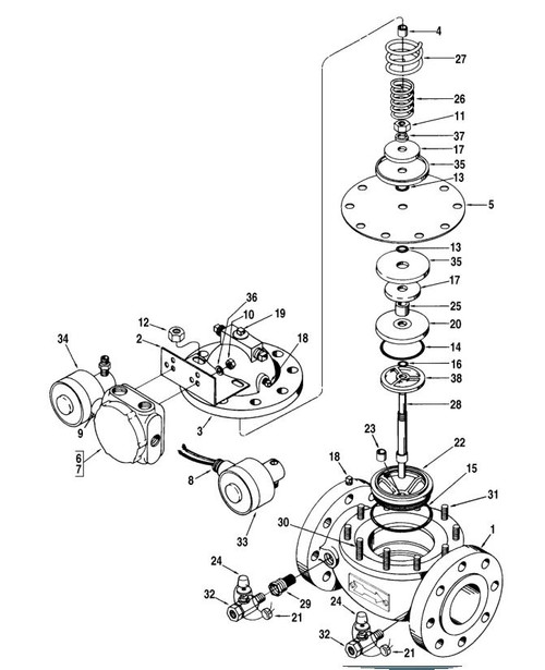 """Smith 4"""" 210 Valve Exploded View"""