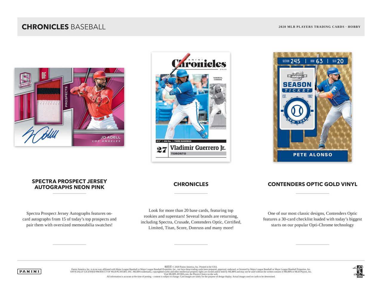 2020 Panini Chronicles Baseball Hobby 16 Box Case