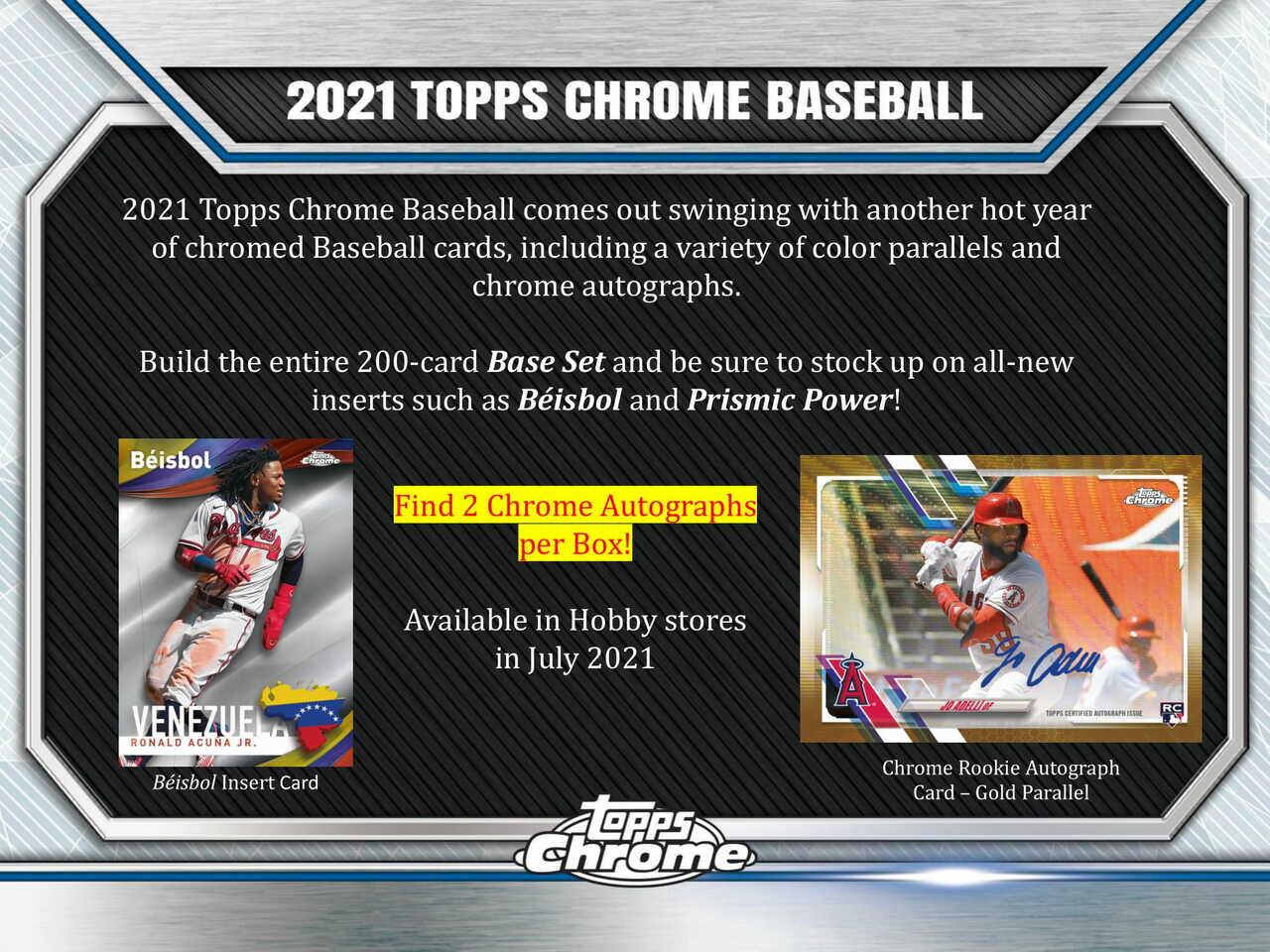 2021 Topps Chrome Baseball Hobby Box