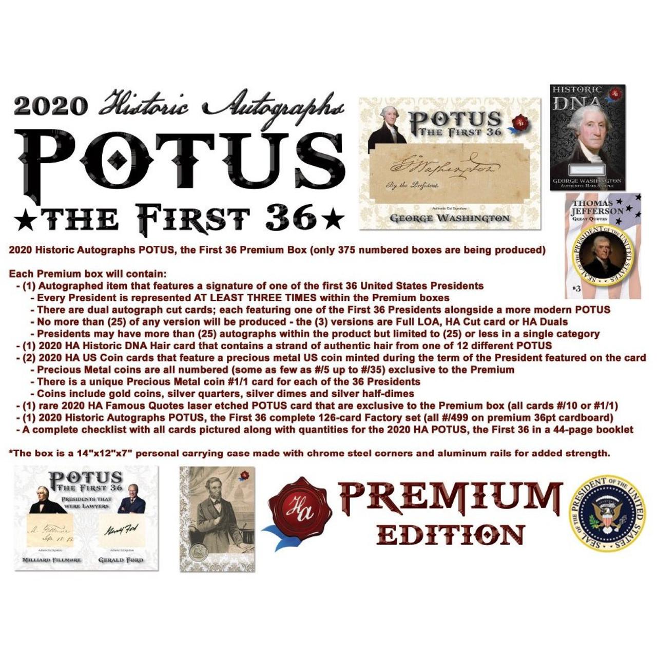 2020 Historic Autographs POTUS The First 36 Premium Box