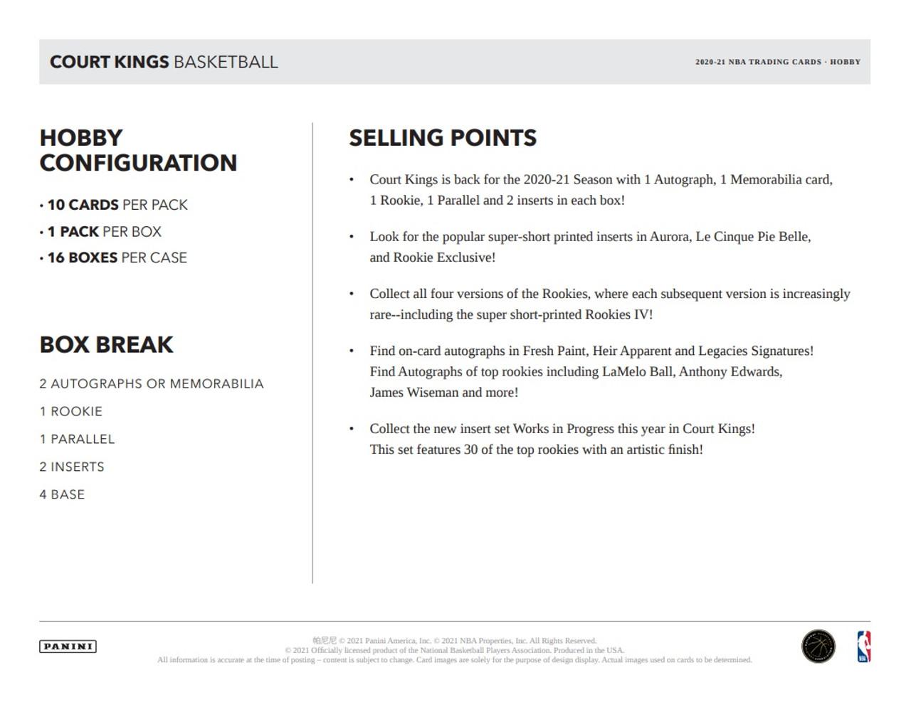 2020/21 Panini Court Kings Basketball Hobby Box