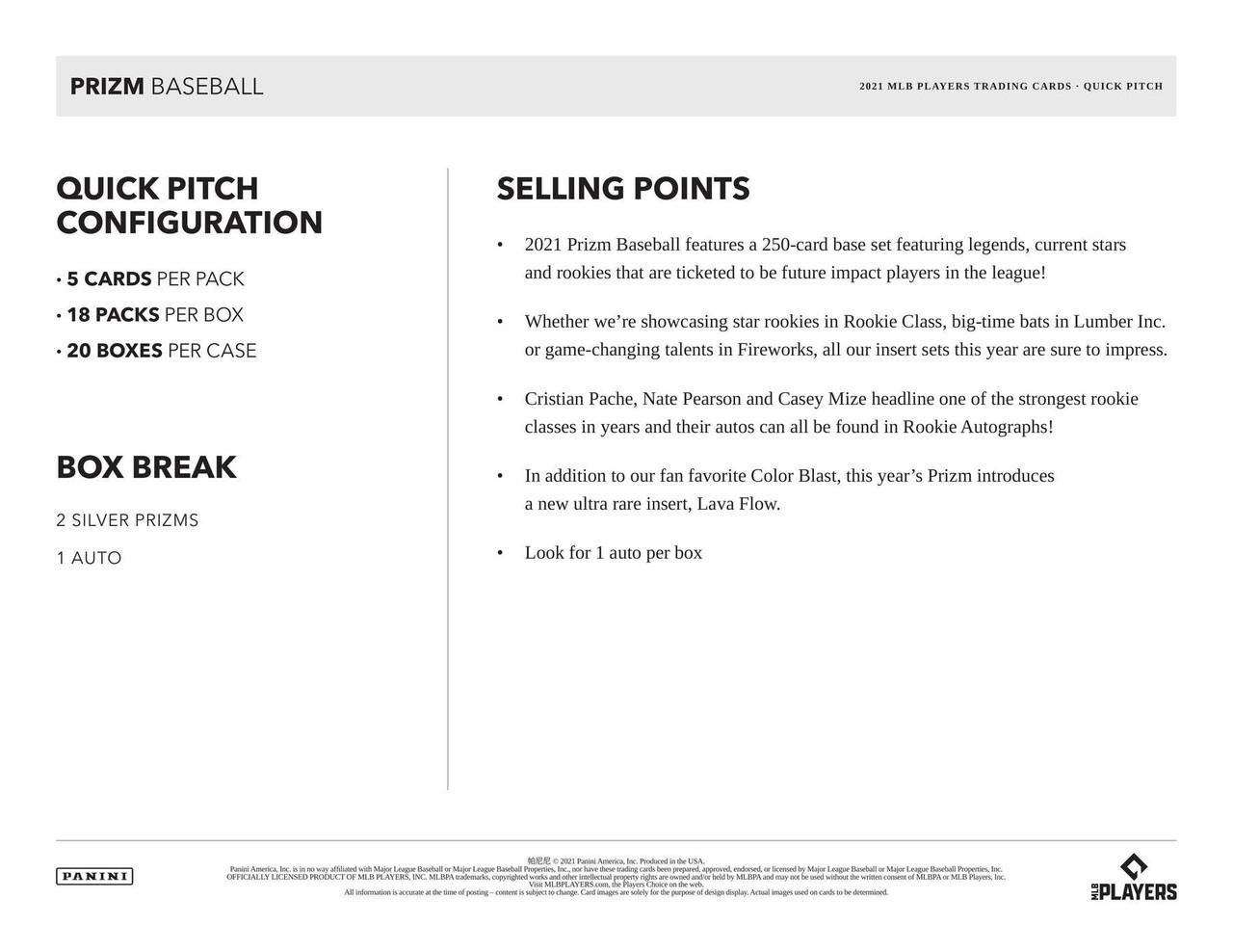 2021 Panini Prizm Quick Pitch Baseball Hobby Box