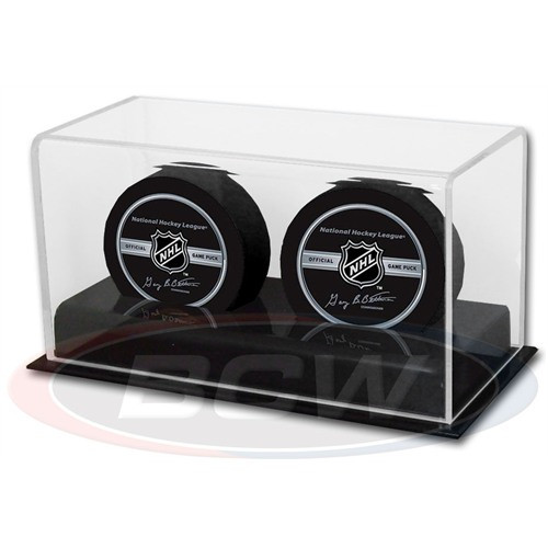 6 Count Max Pro Ultra Clear Hockey Puck Display Case Cube Square Holders