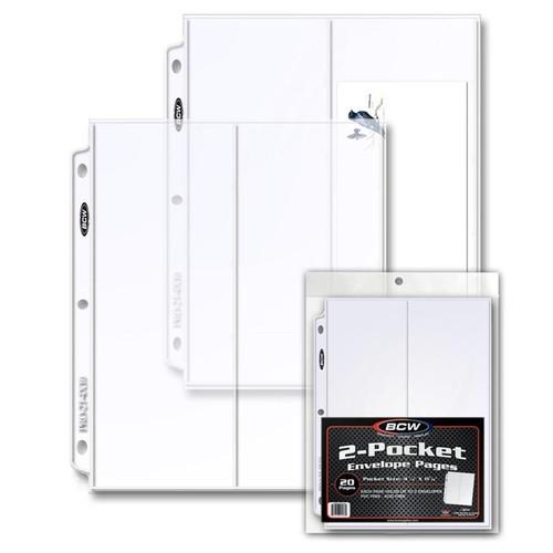 BCW Pro 2-Pocket Envelope Pages 20ct Pack - Case of 25