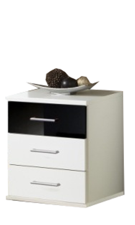 Tesoro White And Black 3 Drawer Chest Bedside