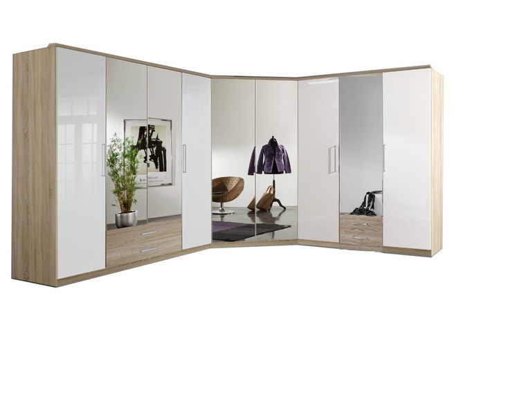 Tesoro Oak And Mirror Corner Mirrored Wardrobe