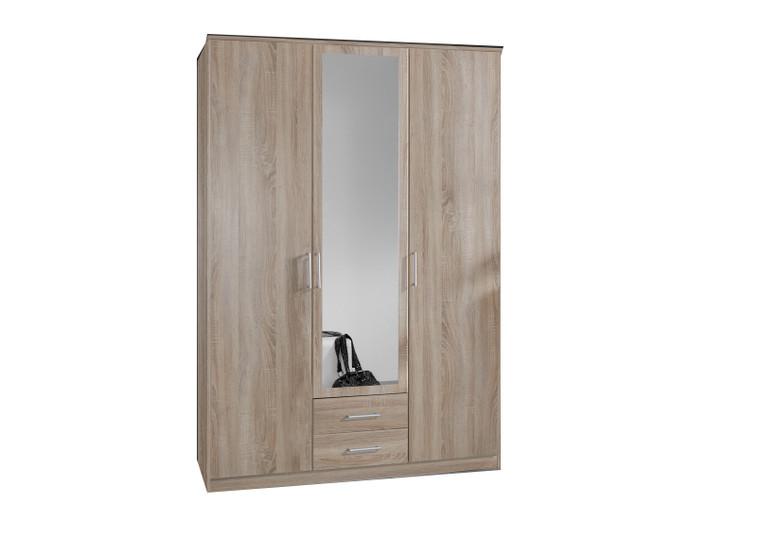 Tesoro oak 3 Door 2 Drawer Wardrobe