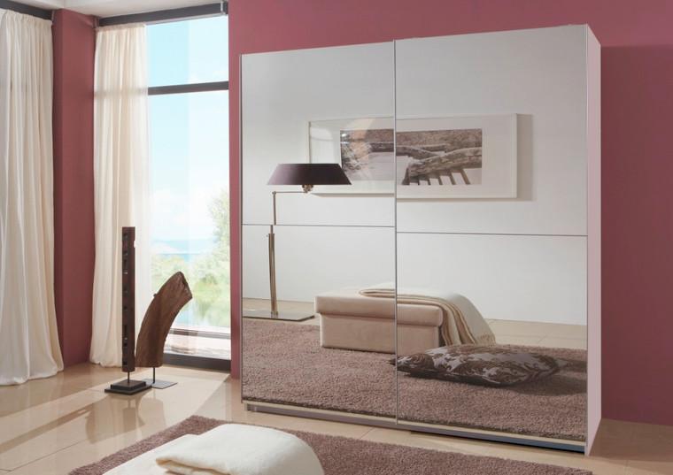 Tesoro White 180 Full Mirrored Sliding Wardrobe