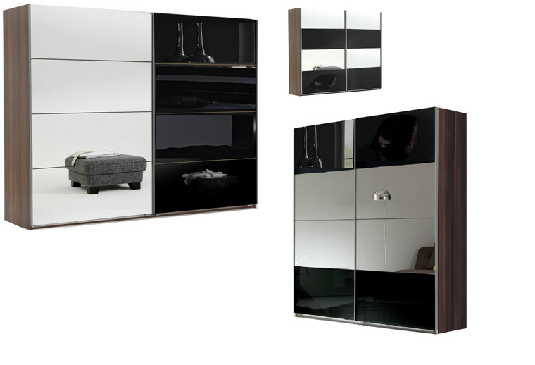 Tesoro Walnut+Mirror 2 Door Sliding Wardrobe + Accessories