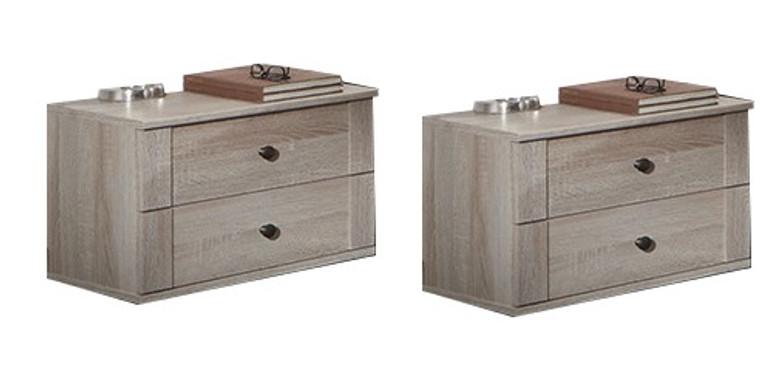 Tesoro 2 x 2 Drawer bedside oak