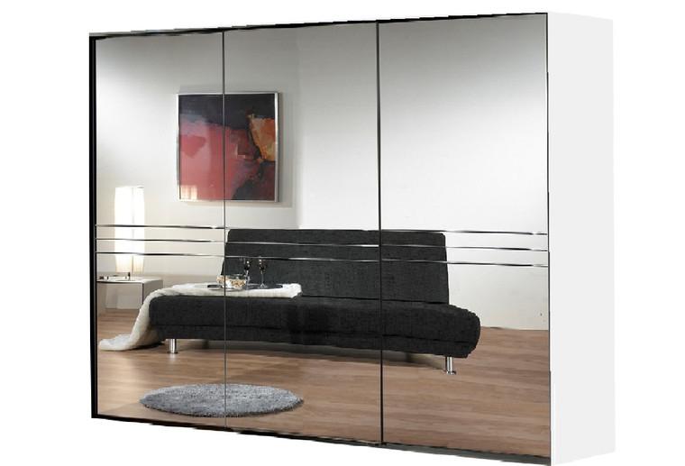 Tesoro white+mirror 3 door sliding 3 mirror wardrobe