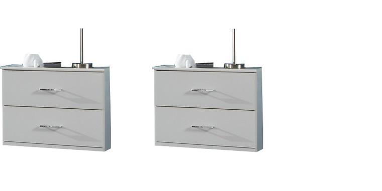 Tesoro white 2 x Medina  2 Drawer Bedside White
