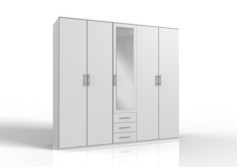 Tesoro 5 door 3 Drawer White wardrobe