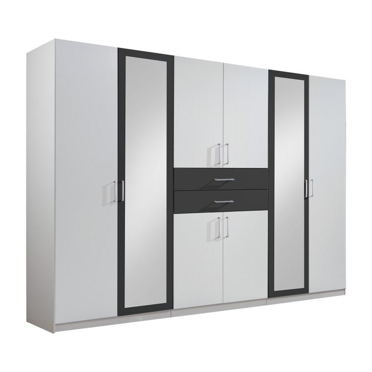Tesoro White And Graphite 6 Door 2 Drawer Wardrobe