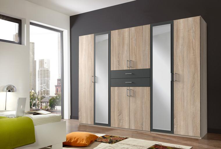 Tesoro Oak And Graphite 6 Door 2 Drawer Wardrobe